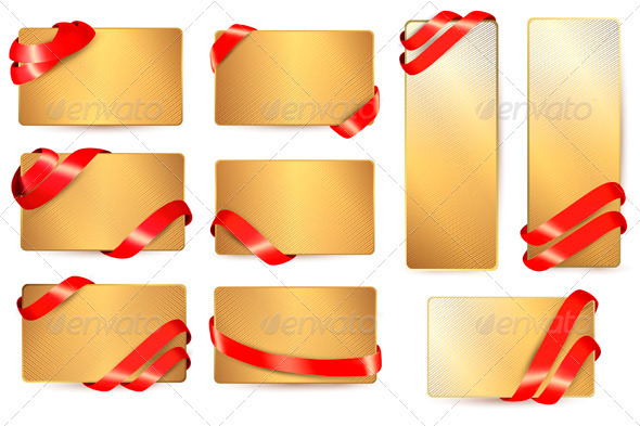 GraphicRiver Set of Gold Business Cards with Red Ribbons 3910792