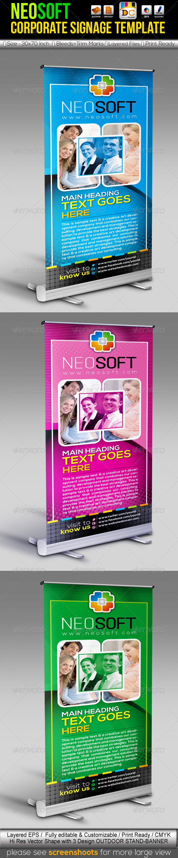 GraphicRiver NeoSoft Out-Door Stand Banner Sinage Templates 3821736