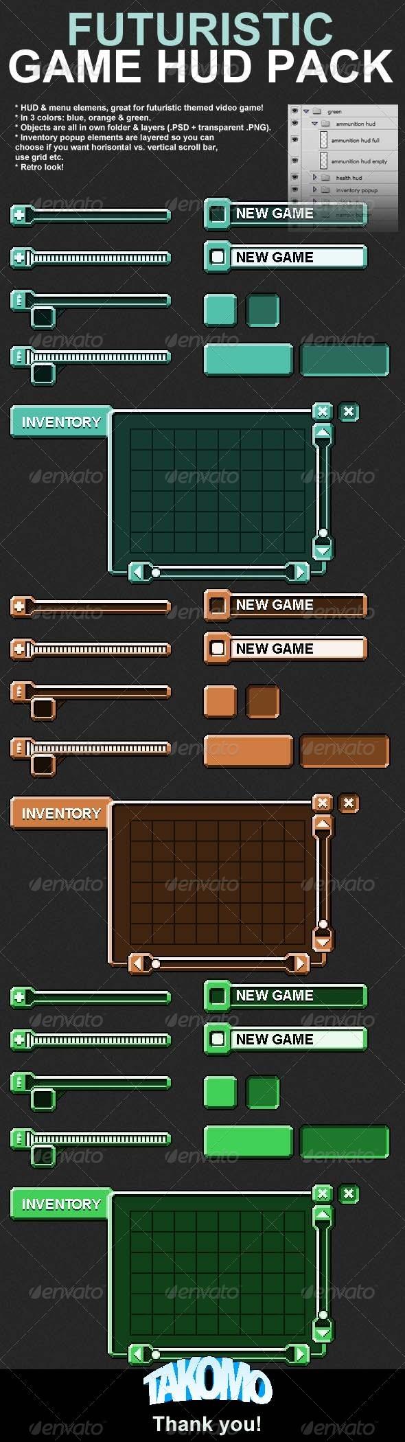 GraphicRiver Futuristic Game HUD Menu Pack 3822761