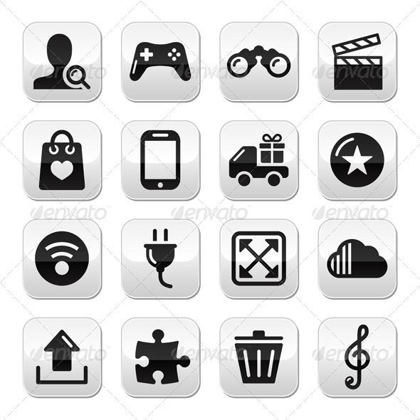 GraphicRiver Web Internet Grey Buttons Set Vector 3911919