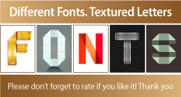 Different Fonts. Textured Letters