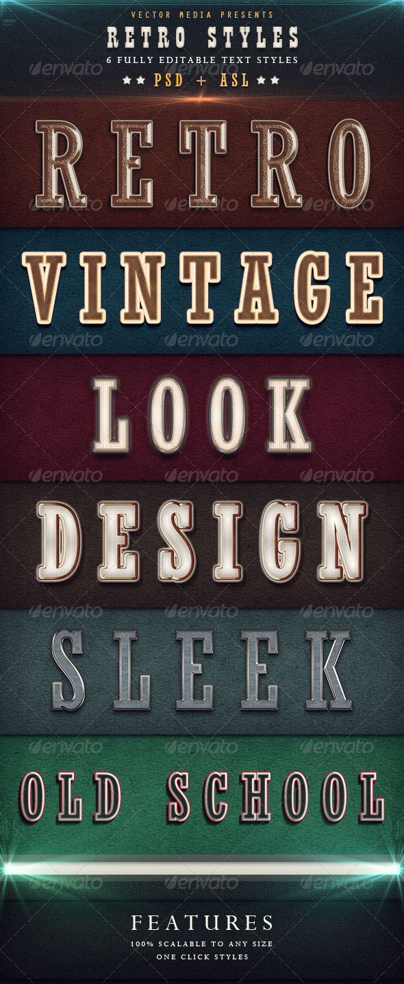 Retro Styles - Text Effects Actions