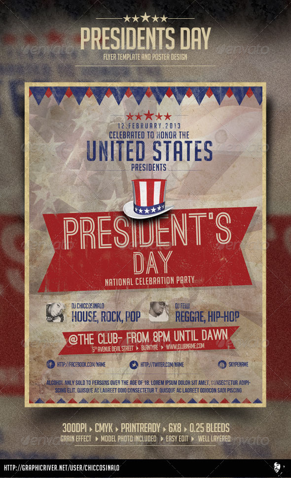 President's Day Celebration Flyer - Events Flyers