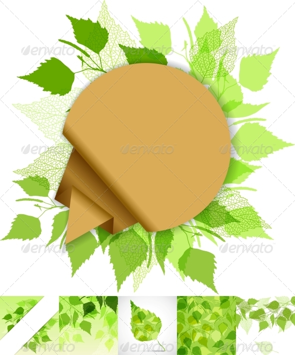GraphicRiver Fresh Background of Green Birch Leaves 3915205