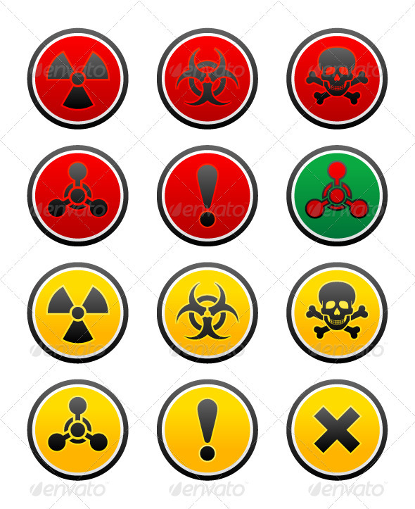 GraphicRiver Symbols of Hazard on the Round Buttons 3916558