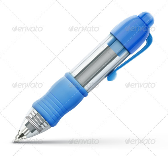 GraphicRiver Blue Ballpoint Pen 3916713