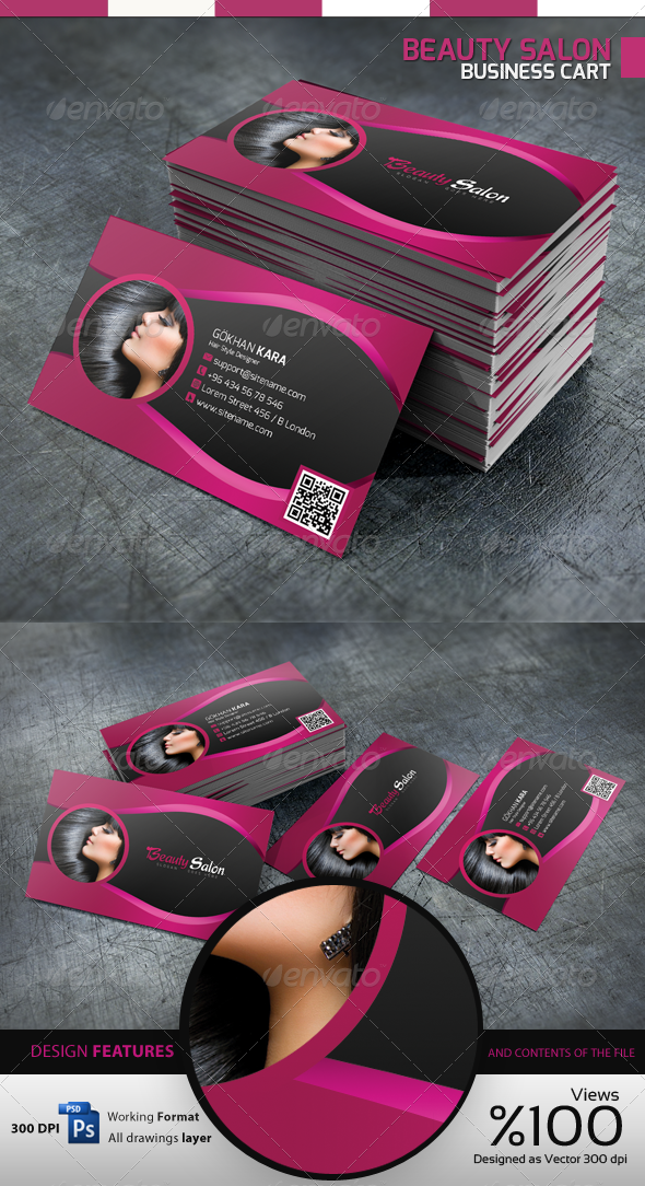 Beauty Salon - Business Card - Industry Specific Business Cards