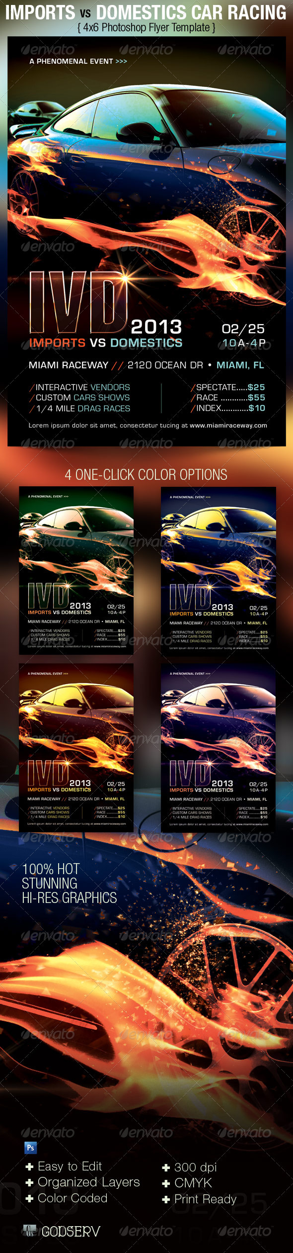 Import vs Domestics Car Racing Flyer Template - Sports Events