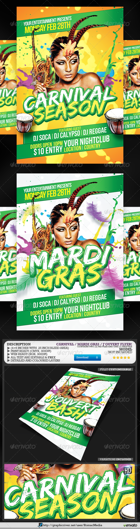 GraphicRiver Carnival and Mardi Gras Flyer 3804014
