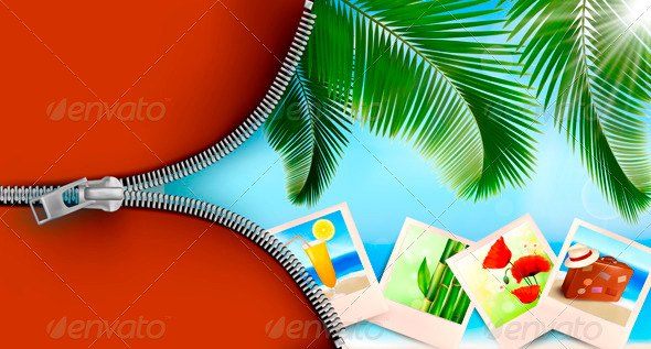 GraphicRiver Background with photos from holidays on a seaside 3918909