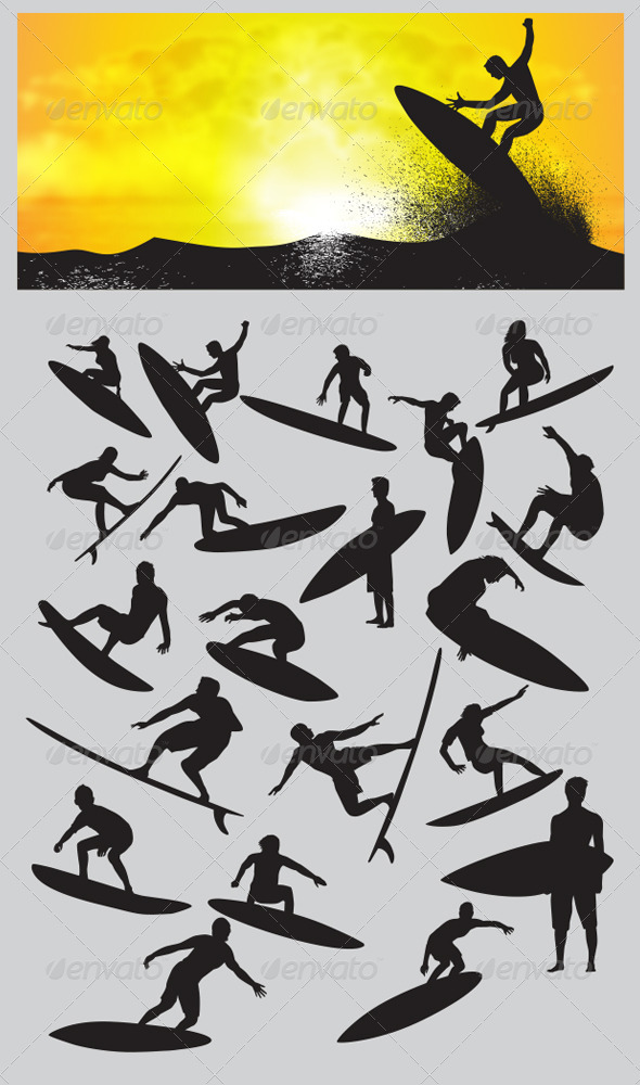 GraphicRiver Surfing Silhouettes 3919097