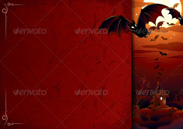Stock Photography - Poster with Halloween Scene Photodune 3921097
