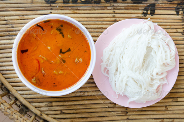 Stock Photography - red curry and rice vermicelli Photodune 3921575