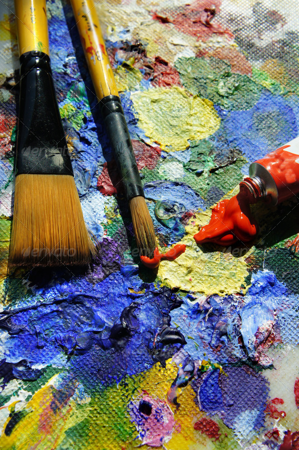 Stock Photography - Art Palette and Paintbrushes Photodune 3921584