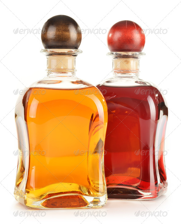 Stock Photography - Composition with bottles of assorted alcoholic products isolated Photodune 3921704