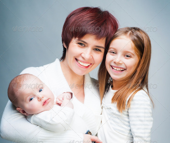 Mother with babies - Stock Photo - Images