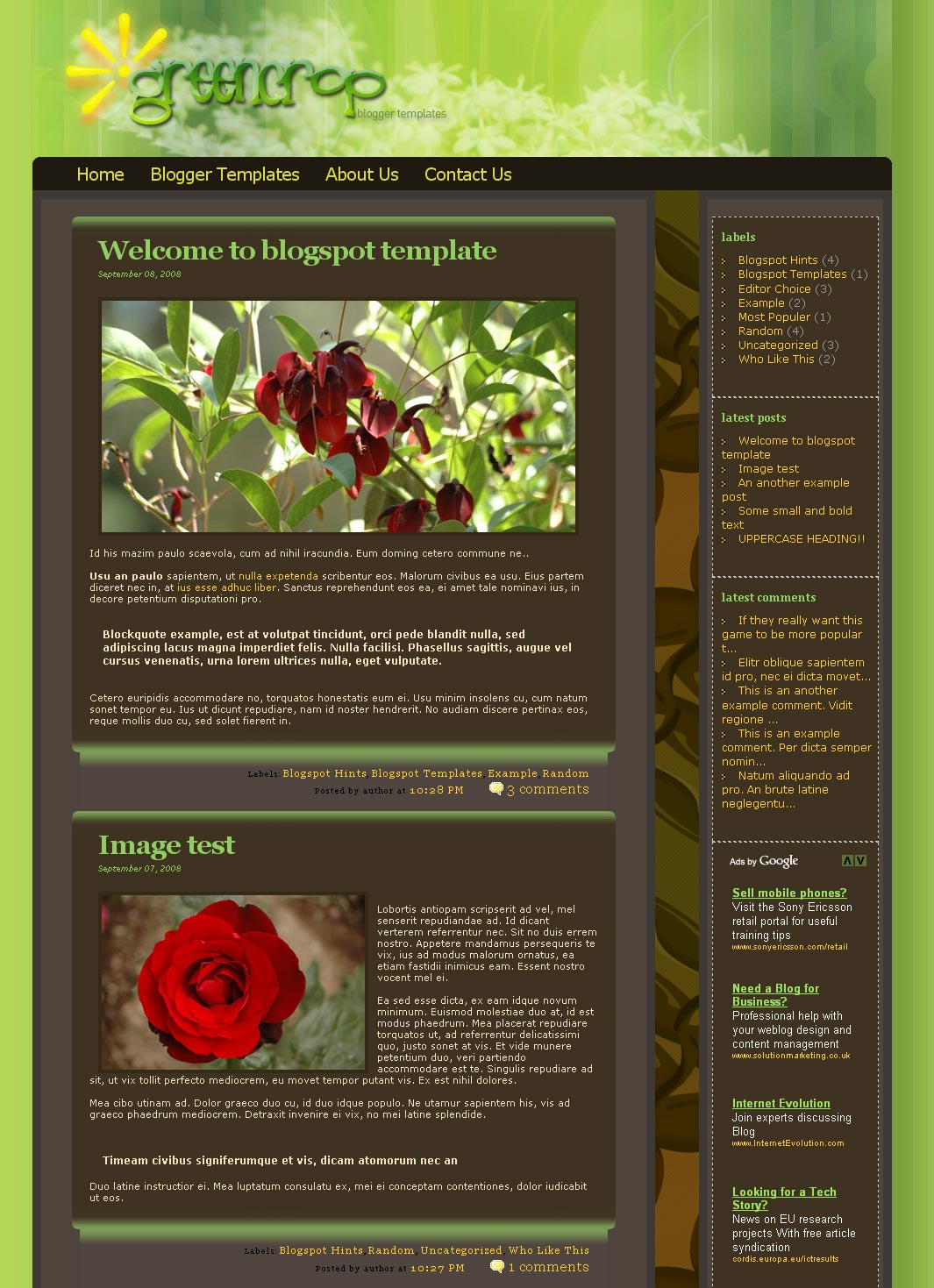 Greencrop Blogger Templates