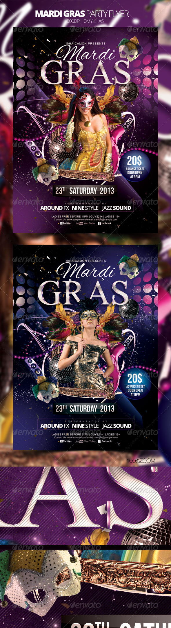 GraphicRiver Mardi Gras Party Flyer 3922165