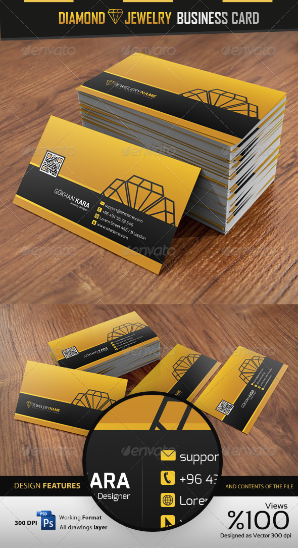 Diamond Jewelry - Business Card - Industry Specific Business Cards