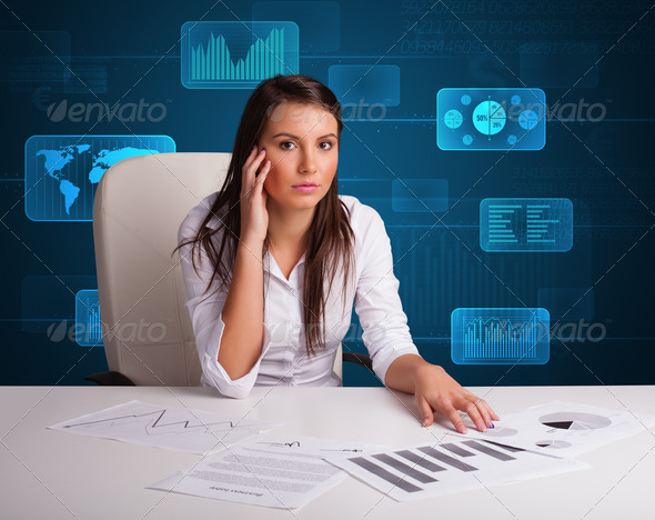 PhotoDune Businesswoman doing paperwork with digital background 3923119