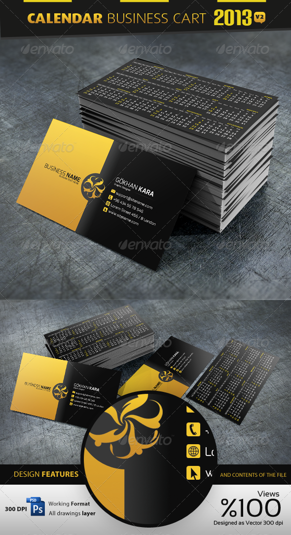 2013 Calendar v2 Business Card - Corporate Business Cards