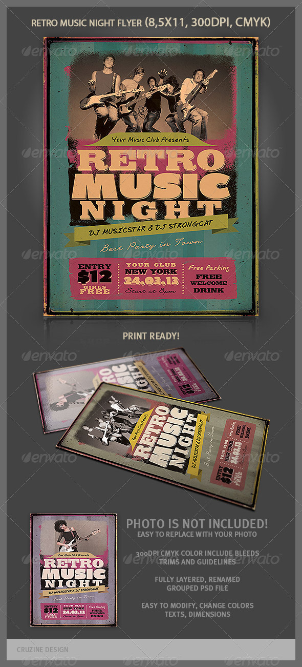 GraphicRiver Retro Music Night Flyer 3924504