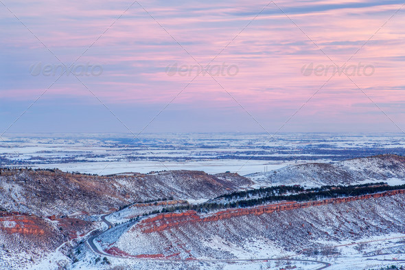 winter dusk over Colorado - Stock Photo - Images
