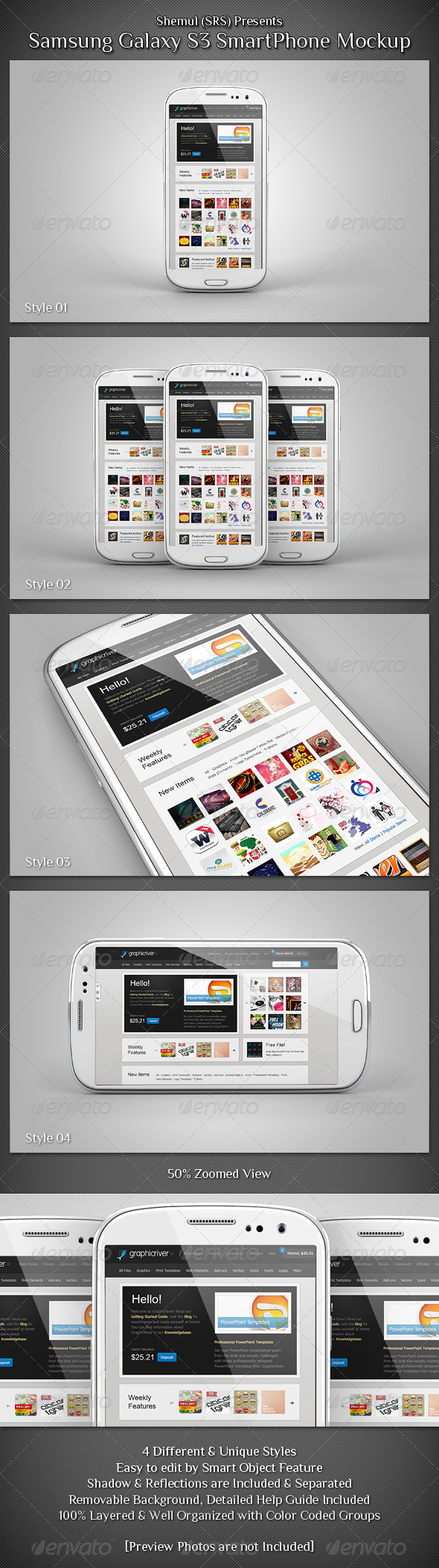 Galaxy S3 Smartphone Mockup - Mobile Displays