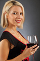Attractive blond drinking red wine - PhotoDune Item for Sale