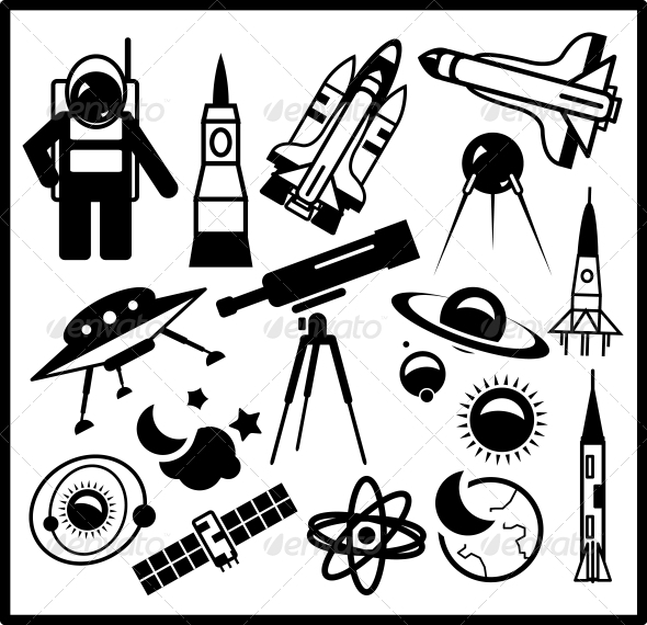 GraphicRiver Set of Black Space Icons 3927590