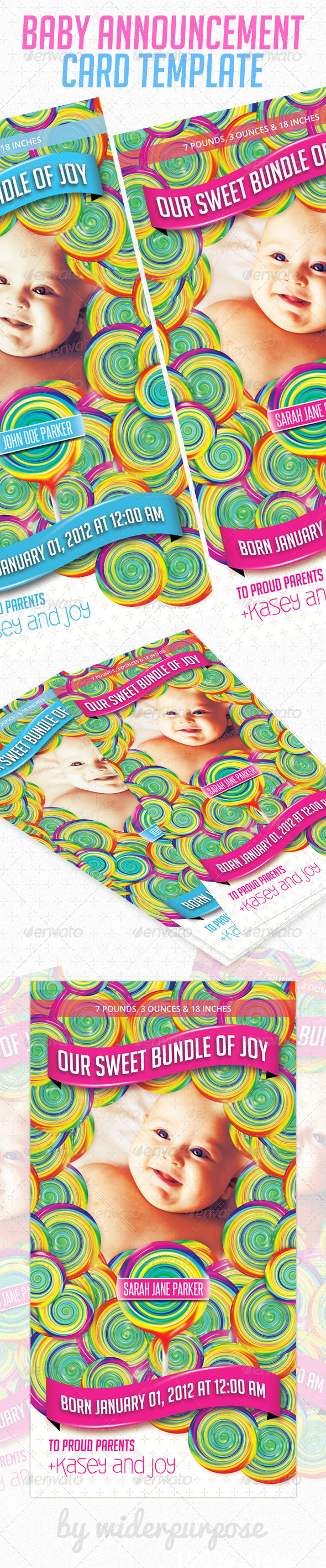 Baby Announcement Card PSD Template - Cards &amp; Invites Print Templates