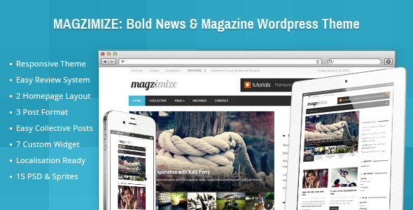 ThemeForest Magzimize Bold News & Magazine Wordpress Theme 3894397