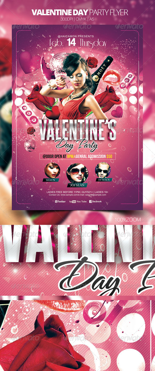 GraphicRiver Valentine Day Party Flyer 3928634