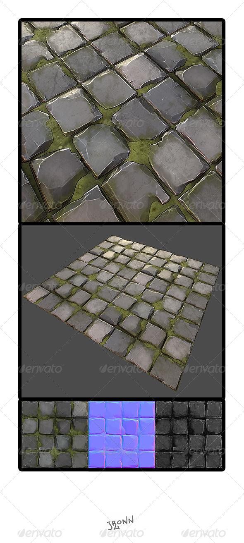 3DOcean Grassy Stone Road Tile 01 3928985