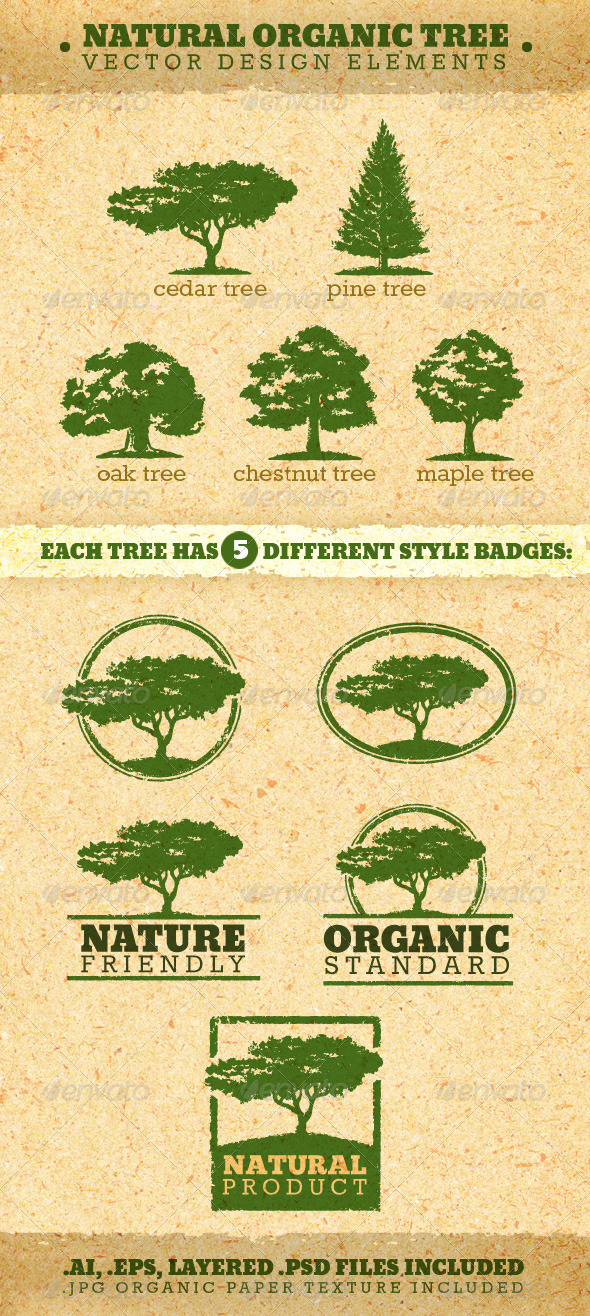Natural Organic Tree Vector Design Elements - Organic objects Objects