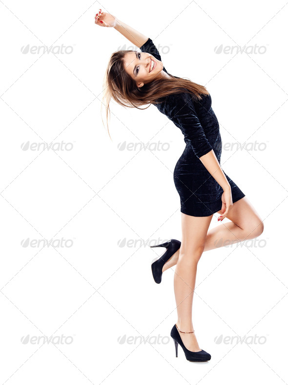 woman in black dress on heels - Stock Photo - Images