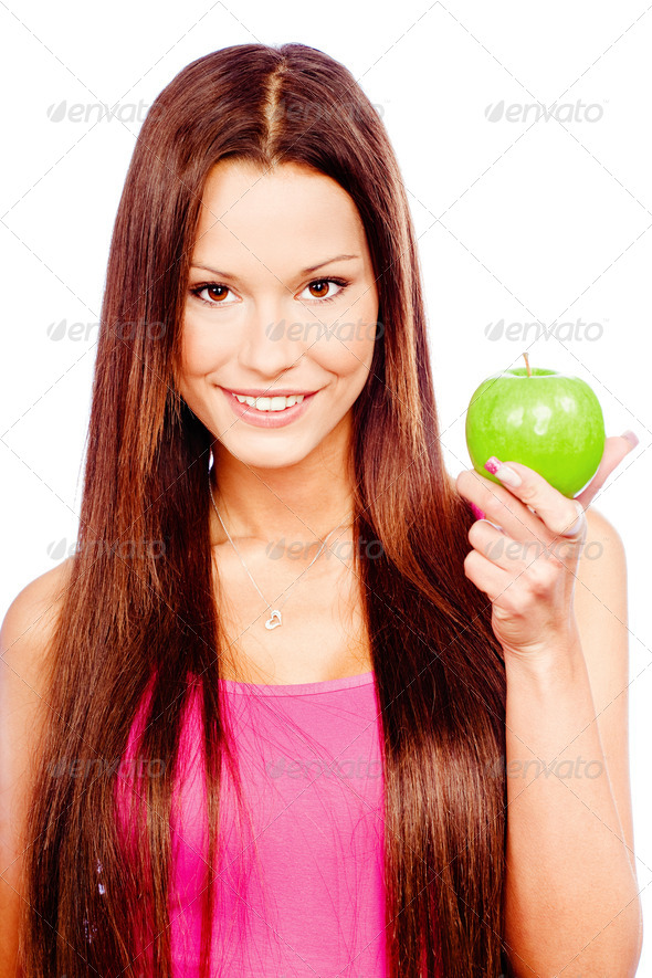 Happy woman with green apple - Stock Photo - Images