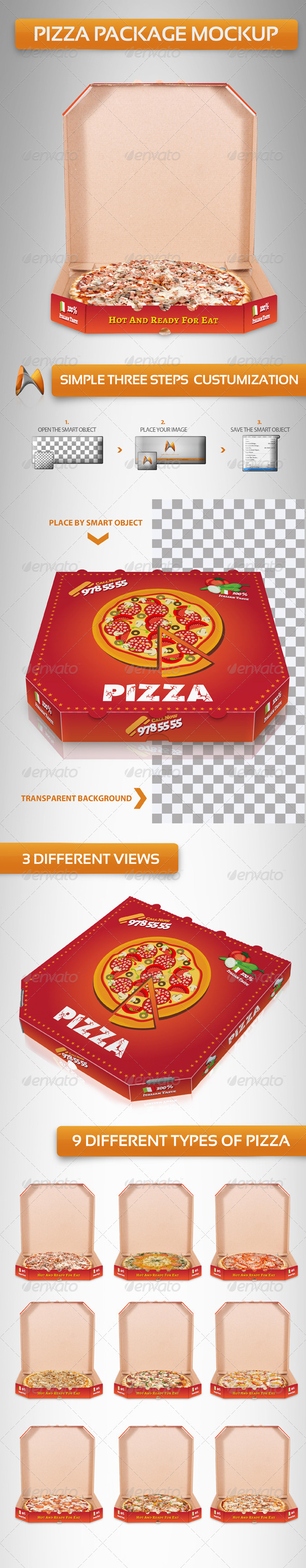 GraphicRiver Pizza Package Mockup 3930063