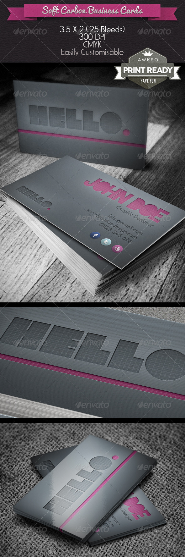 GraphicRiver Soft Carbon Business Card 3930533