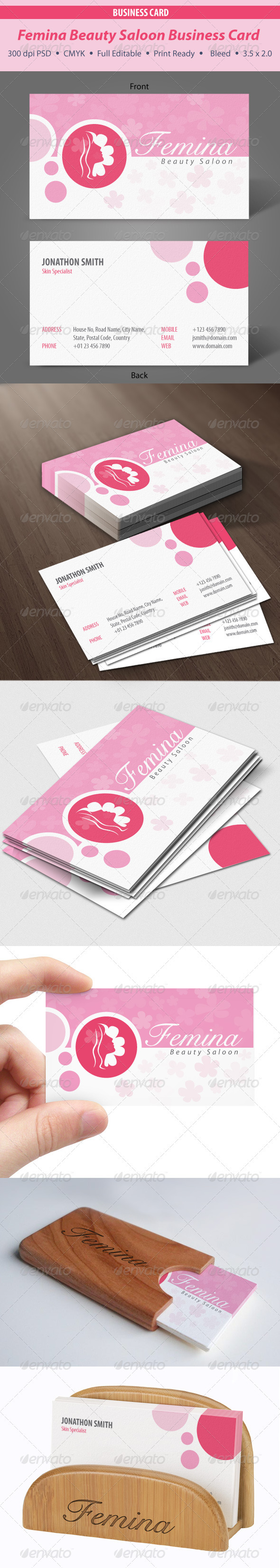 Femina Beauty Saloon Business Card - Industry Specific Business Cards
