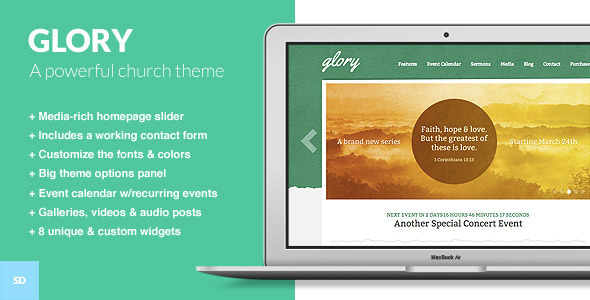 Glory - A WordPress Theme for Churches - Churches Nonprofit