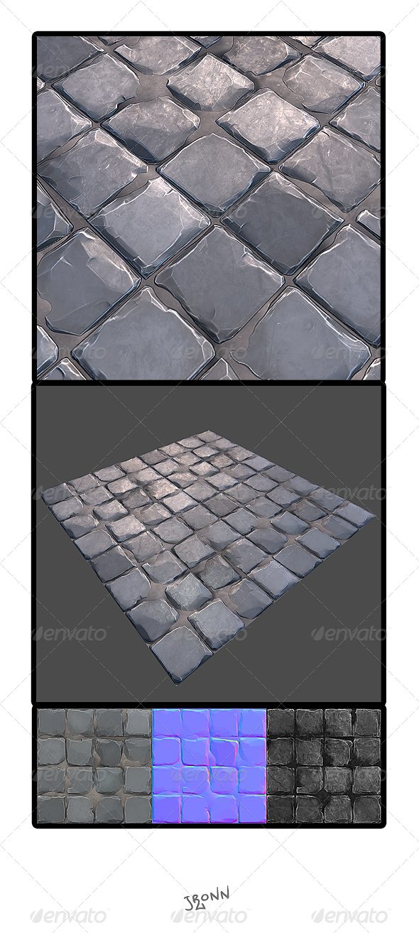 3DOcean Stone Road Tile 02 3932564