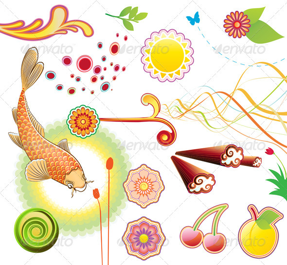 GraphicRiver funky summer design elements 3932867