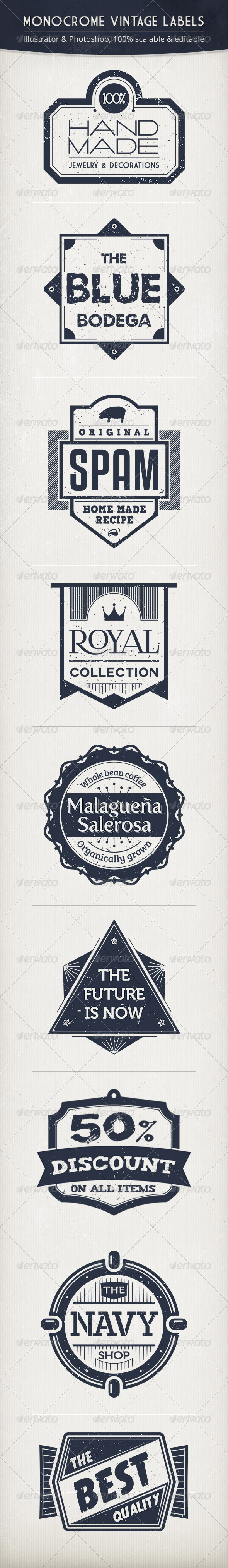 Monochrome Vintage Labels - Badges & Stickers Web Elements