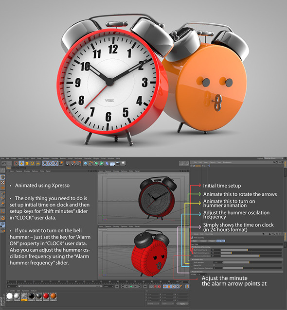 3DOcean Old Style Alarm Clock 3928362