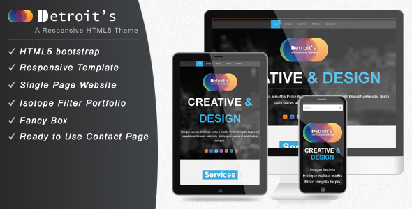 Detroit - Bootstrap Single Page Website Template
