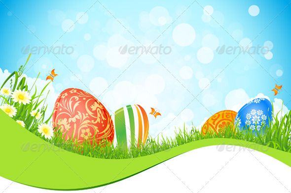 GraphicRiver Beautiful Easter Holiday Background 3934057