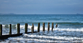 Old Seaside Wood Post Breaking Crashing Sea Waves - PhotoDune Item for Sale