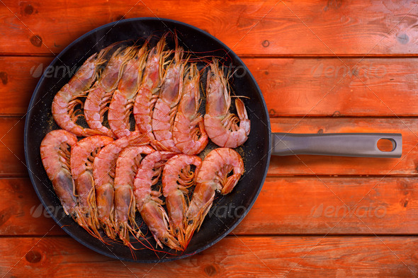 grilled shrimp seafood in round pan - Stock Photo - Images