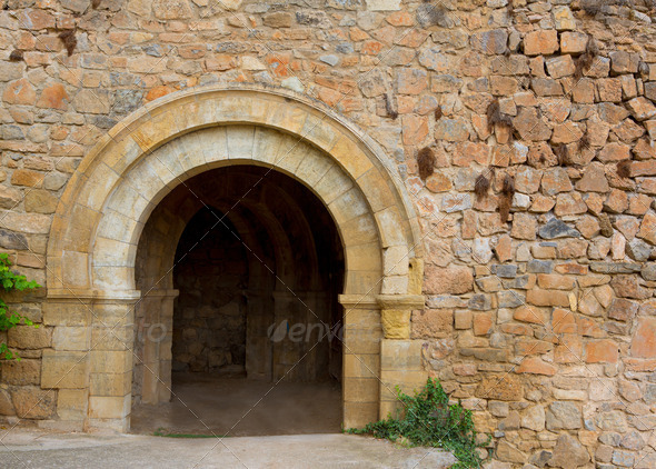 Canete Cuenca puerta San Bartolome stone fort Spain - Stock Photo - Images